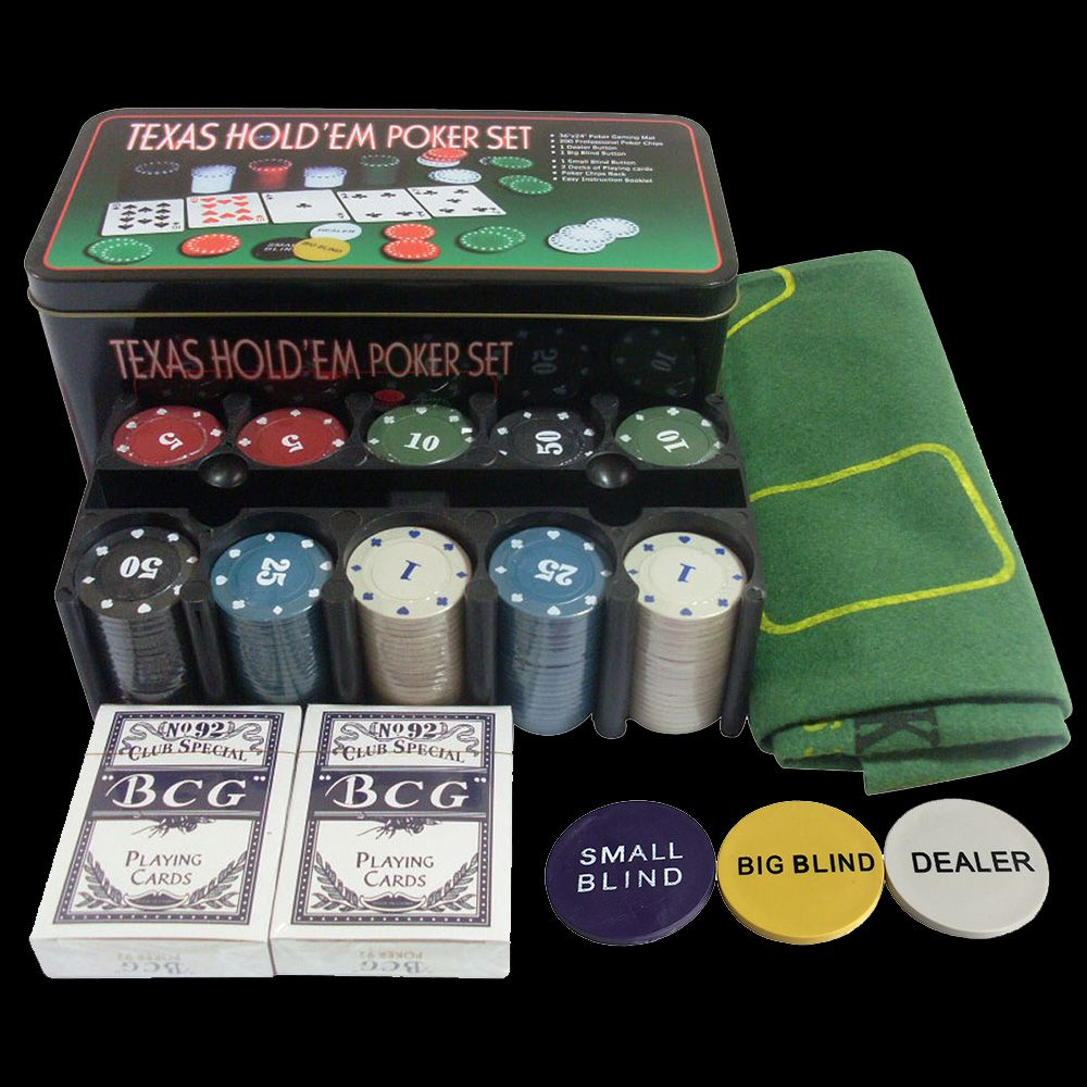 Bargaining 200pcs Poker <font><b>Chips</b></font> Set & Blackjack Poker Table Layout & Dealer & 2 Blinds & 2 Playing Cards