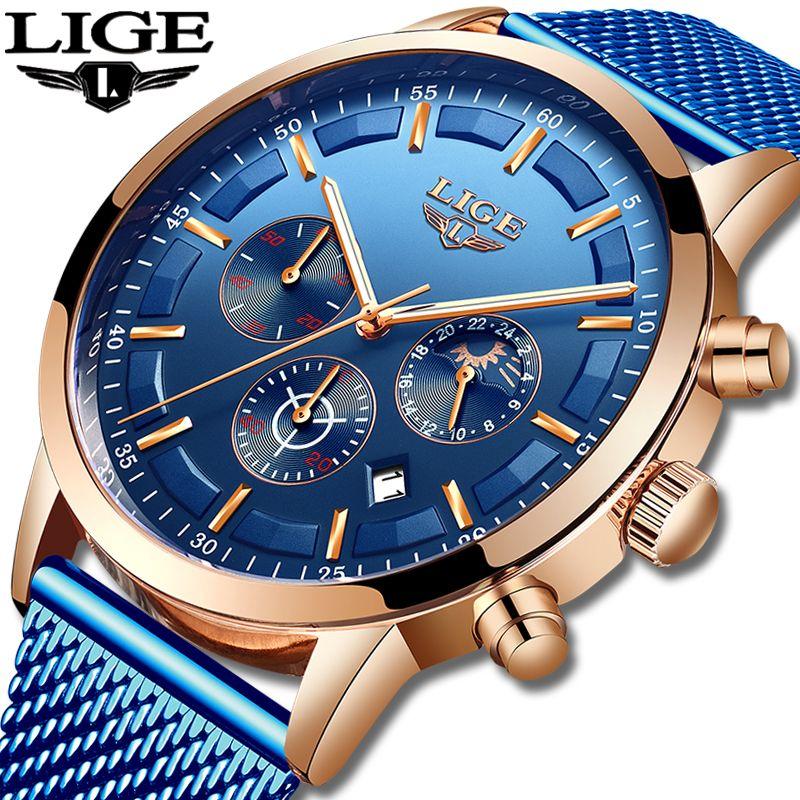 Relogio Masculino LIGE montre à Quartz de luxe pour hommes montres à cadran bleu montres de sport lune Phase chronographe maille ceinture montre-bracelet
