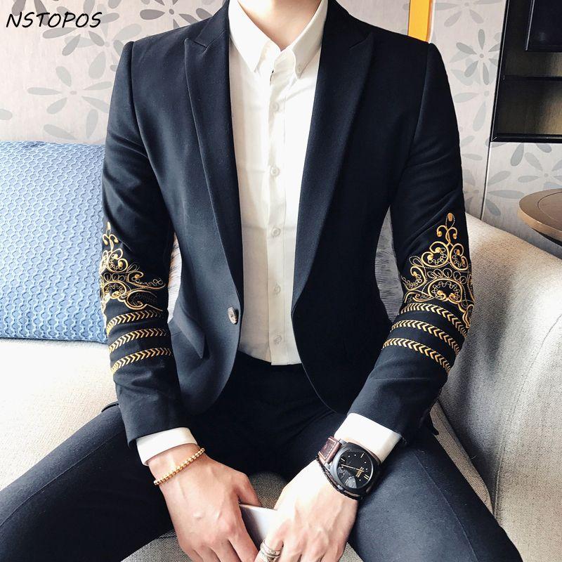 Hombres bordados Paisley blazer Oro Negro chaqueta 2018 chaqueta de la vendimia del banquete de boda de los hombres con estilo slim fit Blazers para hombres