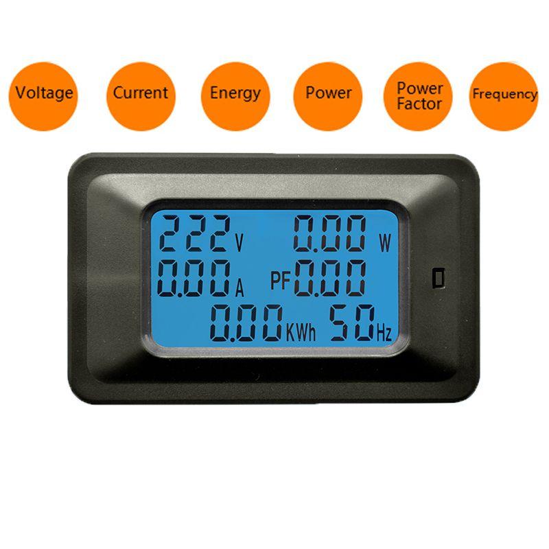 6 en 1 AC 20A 100A voltmètre numérique ampèremètre énergie compteur puissance fréquence facteur courant panneau détecteur 110V 220V LCD bleu