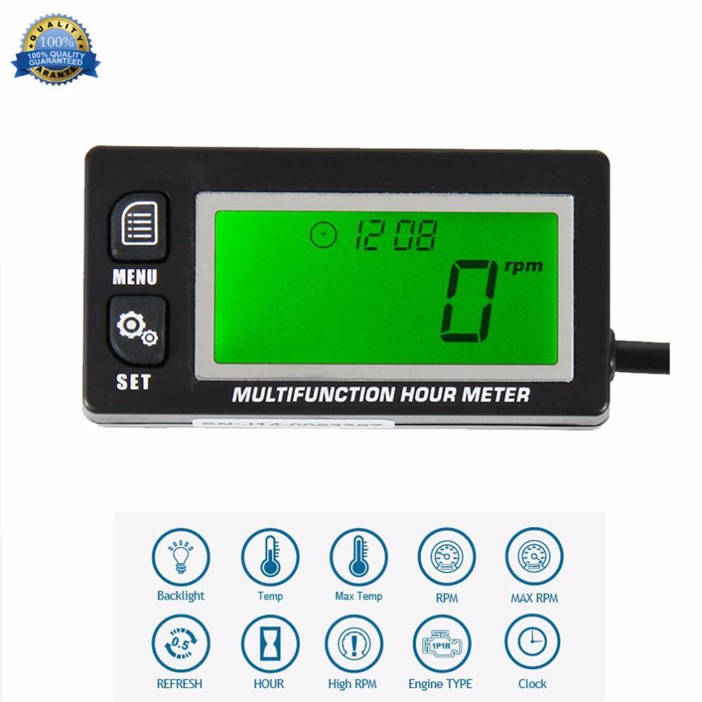 Compteur de température inductif thermomètre tachymètre Max RPM rappel compteur d'heure pour UTV moto ATV bateau marin RL-HM028A