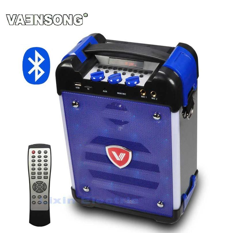 VAENSONG K6 High-Power HiFi Portable Bluetooth Speaker Subwoofer Supports USB Disks And Microphone Has FM Radio LED Lantern Blue