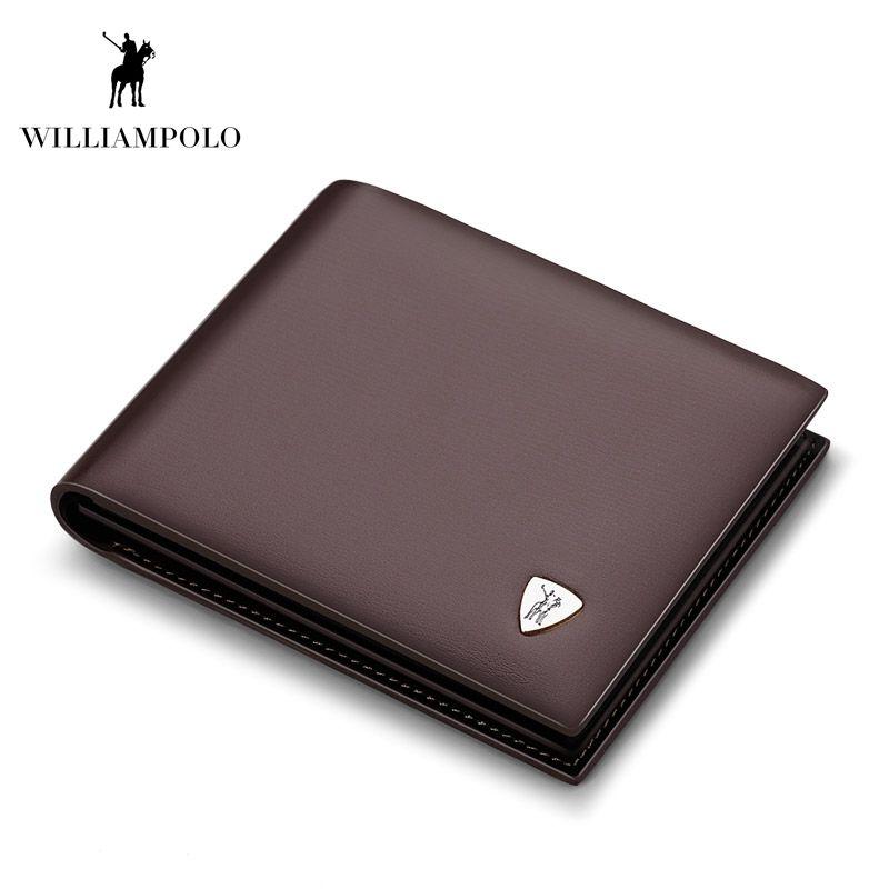 WilliamPOLO mode cuir de vache portefeuille mince petit portefeuille Designer porte-monnaie en cuir de haute qualité portefeuille marron #147