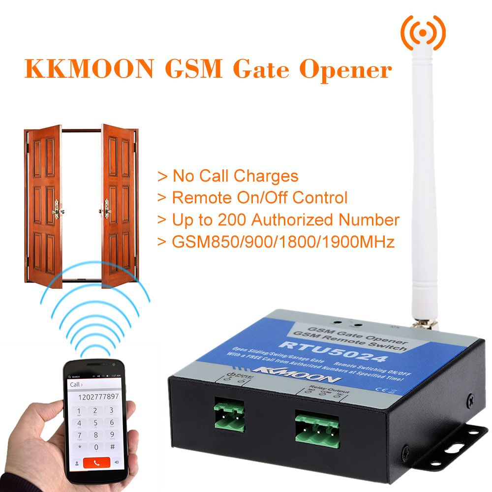 KKmoon GSM Gate Opener Door Opener GSM Relay Remote On/Off Switch Access Control Free Call Home Security  RTU5024
