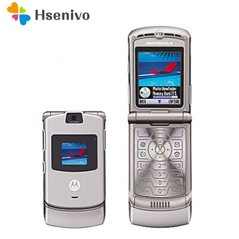 100% GOOD quality Refurbished Original Motorola Razr V3 mobile phone one year warranty free shipping