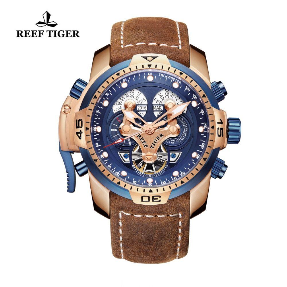 Riff Tiger/RT Marke Militär Uhren für Männer Rose Gold Blau Zifferblatt Braun Lederband Automatische Uhren Relogio Masculino RGA3503