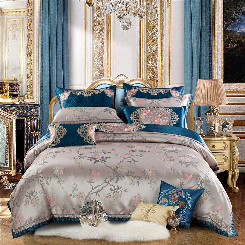 Luxus Jacquard Satin Bettwäsche set Königin König größe bettbezug Bett set linge de lit ropa/juego de cama bett/Flache blatt Bett verbreiten