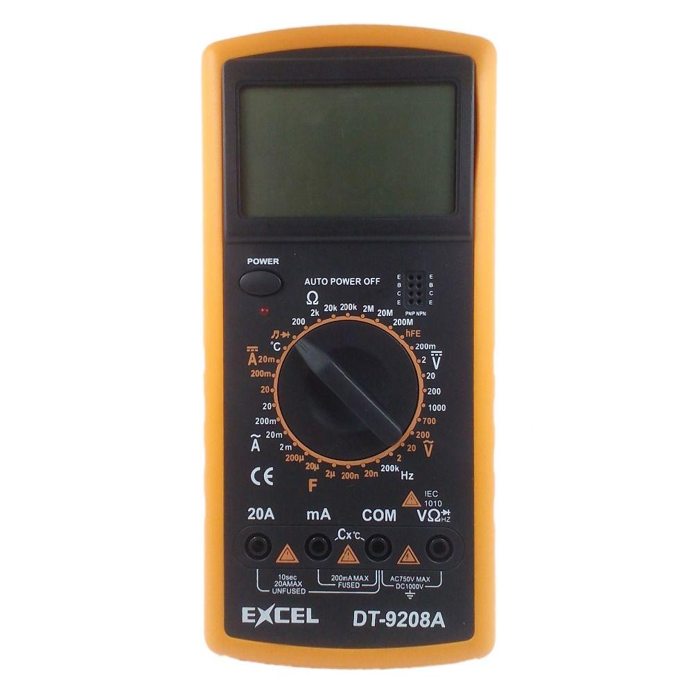 EXCEL DT9208A multimètre numérique DC tension ca résistance au courant capacité température fréquence mètre testeur voltmètre LCD