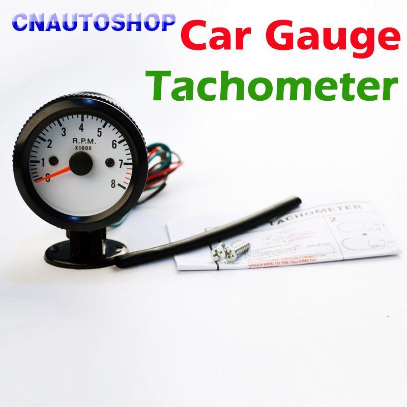 Dragon Gauge 2 52mm Car Gauge Tachometer Meter 0-8000 RPM Tacho Blue Light TAC for 12V Auto