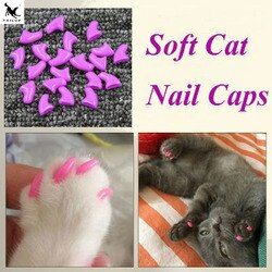 20 piezas suave casquillos del clavo del gato/gato cubierta del clavo/pata/Pet uñas silicio con free pegamento y Applictor/tamaño XS S M L