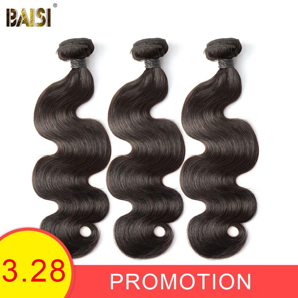 BAISI Corps Vague Péruvienne 8A Vierge Cheveux Nature Couleur 100% extensions de cheveux humains 10-28 pouces, 1/3/4 pièces Disponible Livraison Gratuite