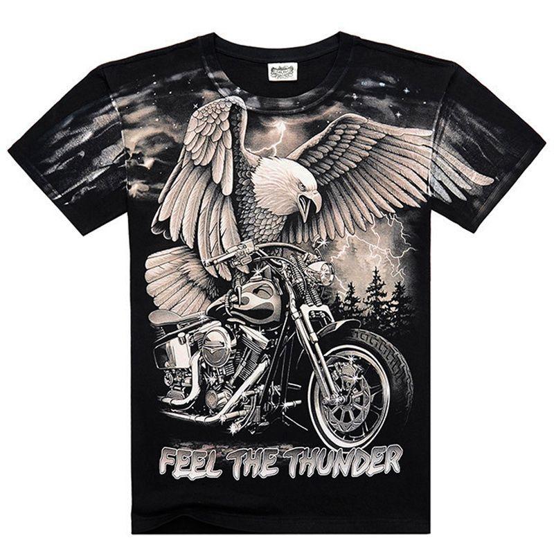 [Hommes os] d'été Britannique Bande Métallique Hiro Eagle rock aigle de sentir le tonnerre t-shirts 100% Coton Hommes chemise