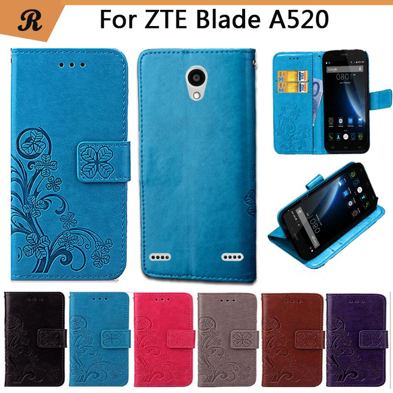 Newest For ZTE Blade A520 Factory Price Luxury Cool Printed Flower 100% Special PU Leather Flip case with Strap