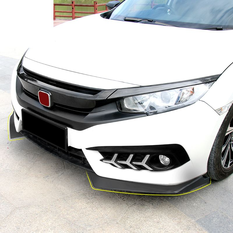 ABS CAR FRONT BUMPER SPLITTERS LIP SPOILER SIDE APRONS FIT FOR HONDA CIVIC 2017 2018 car styling car accessories