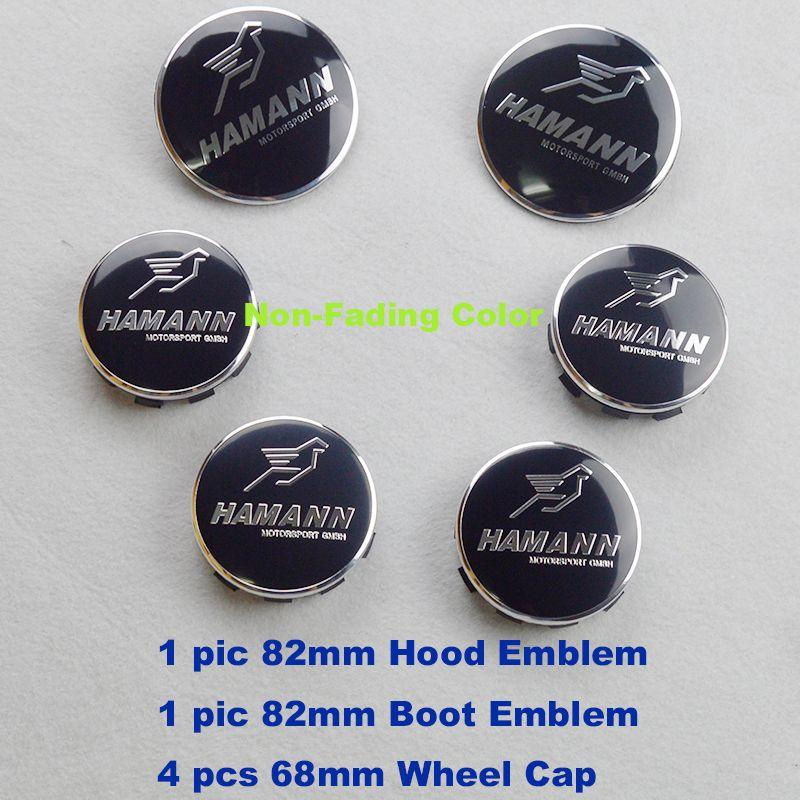 6pcs/lot ABS Aluminun wheel hub cap Auto head hood Emblem rear boot label Car front Bonnet Logo tail Trunk Badge