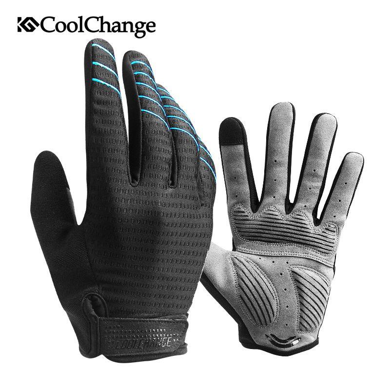 CoolChange Cycling Gloves Full Finger Sport Shockproof MTB Bike Touch Screen Gloves Man Woman Bicycle Sponge Long Finger Glove