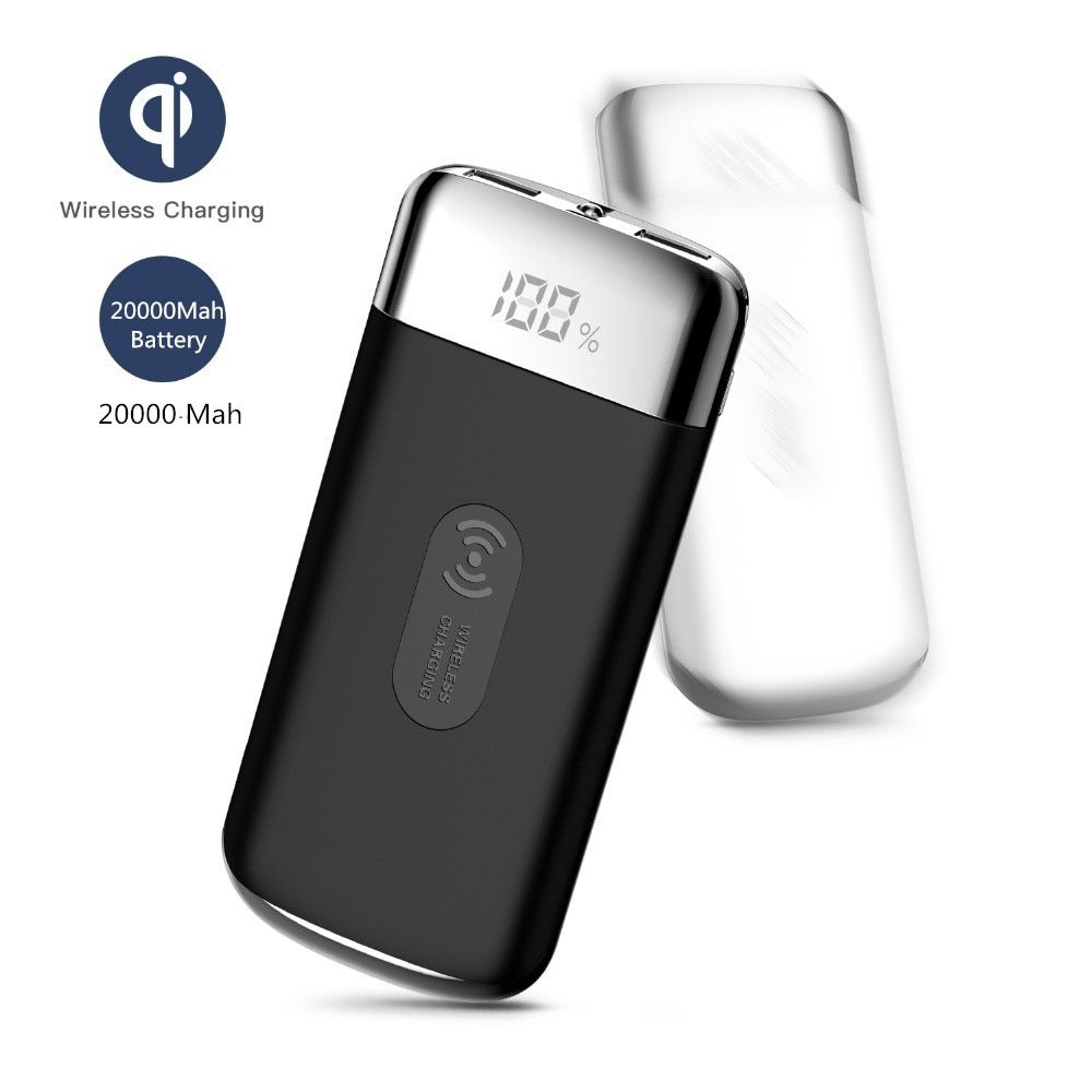 HOT SALE Double USB QI Wireless Charger Power Bank 30000mah Wireless Charger for IPhone 8 8plus X Millet External Battery