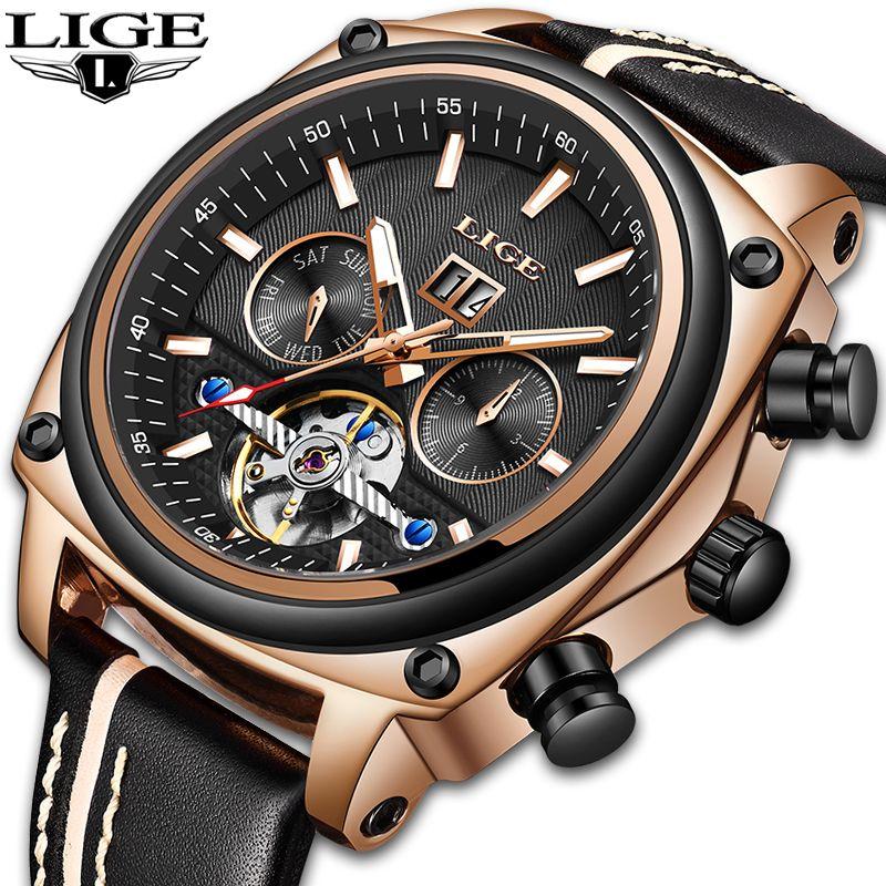 LIGE Männer Uhr Tourbillon Mode Luxus Sport Mechanische Uhr Klassische Männer Automatische Mechanische Handgelenk Uhren Reloj Hombre 2019