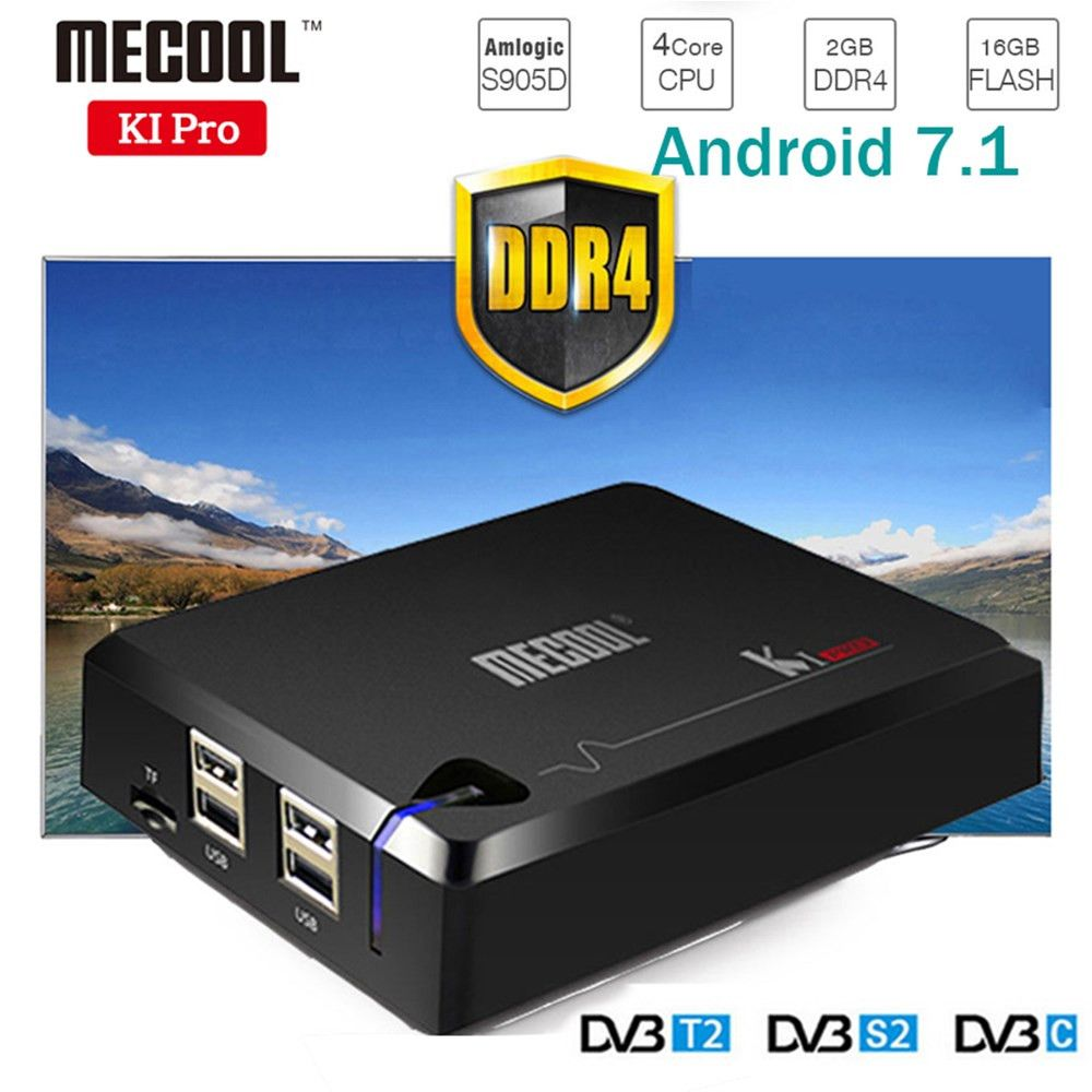 NEW! MECOOL KI PRO TV Box KI PRO S2+T2 DVB Amlogic S905D Quad 2G+16G Support DVB-T2&S2/DVB-T2/DVBS2 Set Top Box Android TV Box