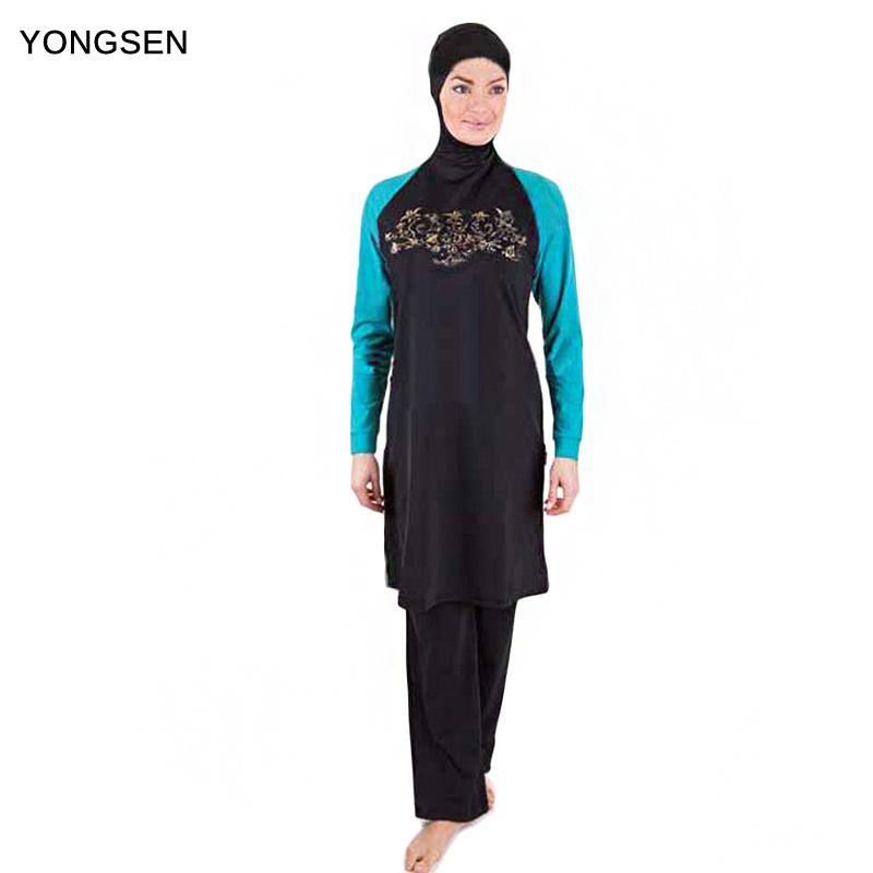 YONGSEN Muslim Swimsuits Full Coverage Swimwear Women Burkinis Separate long sleeve Modest Plus Size Swimming Lady Clothing