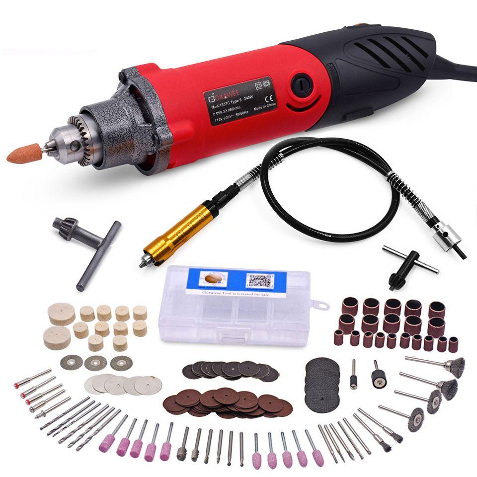 240 W Mini perceuse électrique 6 positions vitesse Variable Dremel outils rotatifs Mini meuleuse pour rectifier l'outil électrique en céramique en métal