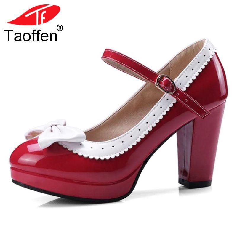 TAOFFEN Size 32-48 Sexy Women Bowtie Round Toe High Heel Shoes Women Ankle Strap Thick Heels Pumps Party Dress Women Footwears