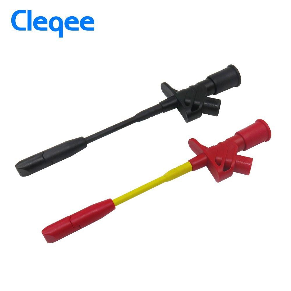 Cleqee P5005 2 pièces 10A Professionnel Aiguille de Perçage Pinces de Test Multimètre sonde D'essai de Crochet avec Prise de 4mm