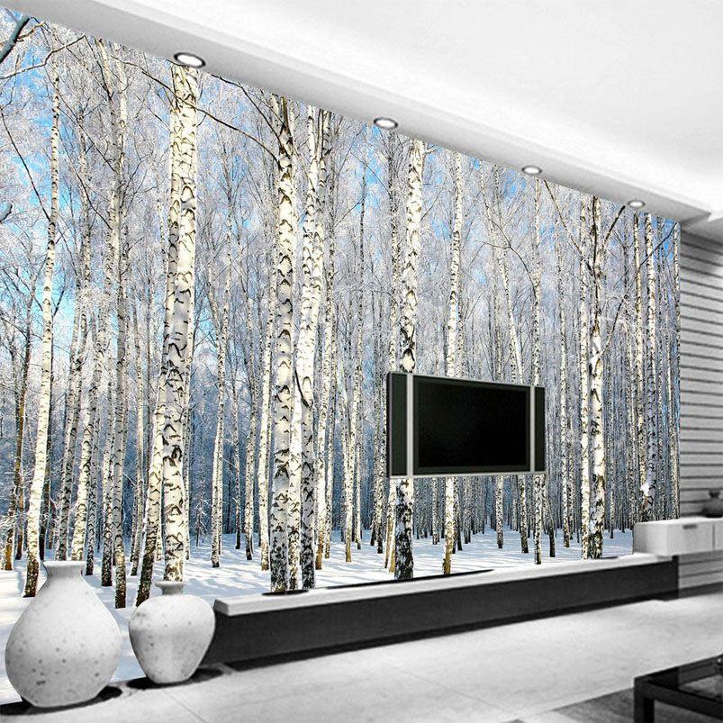 Nach 3D Foto Tapete Birke Wald Schnee Landschaft Wohnzimmer Schlafzimmer TV Hintergrund Wandbild Tapete Papel De Parede 3D