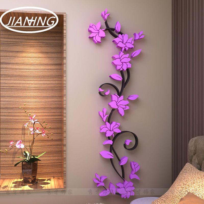 3D en trois dimensions cristal miroir stickers muraux TV toile de fond décoration moderne décoratif fleurs salon canapé rouge rose