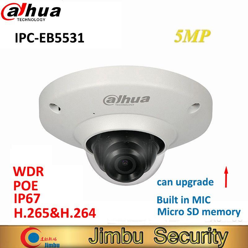 Dahua 5MP IP camera IPC-EB5531 Panoramic Network Fisheye IP Camera H.265 1.4mm lens Built-in Mic Micro SD card IP67 PoE WDR
