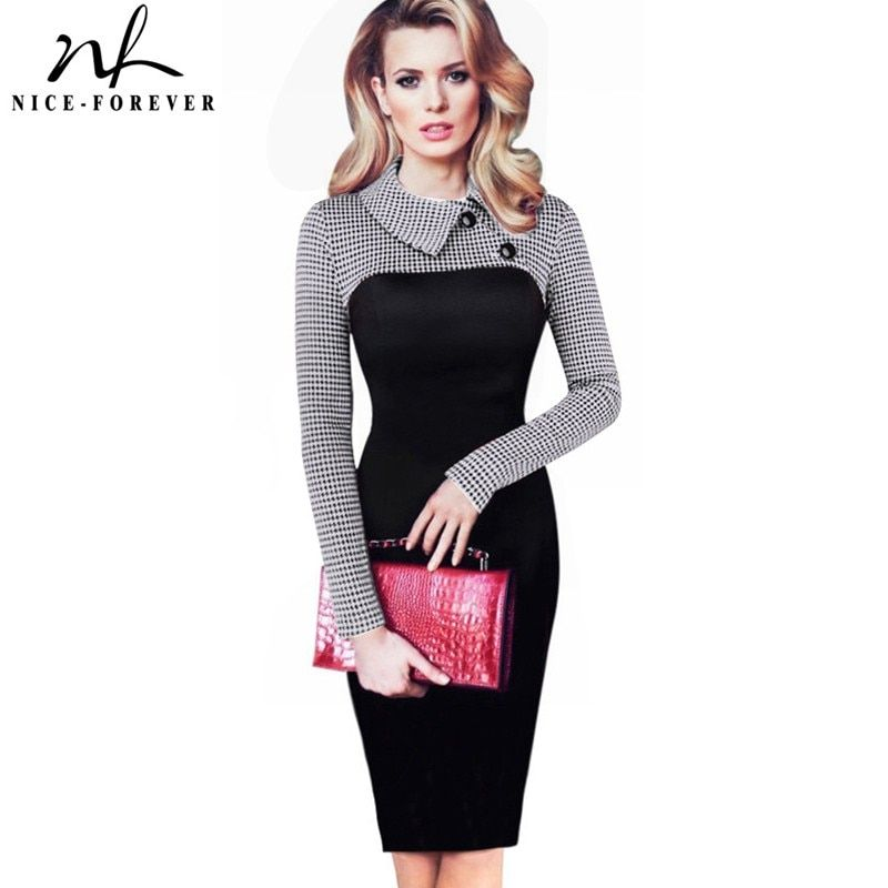 Nice-forever Elegant Vintage Fitted winter dress full Sleeve Patchwork Turn-down <font><b>Collar</b></font> Button Business Sheath Pencil Dress b238