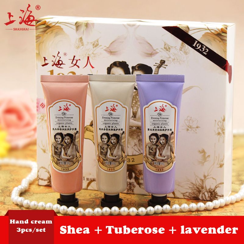 SHANGHAI BEAUTY Tuberose essence hand cream 3PCS/set Repairing moisturizing whitening hand lotion skin care nourish Relieve dry