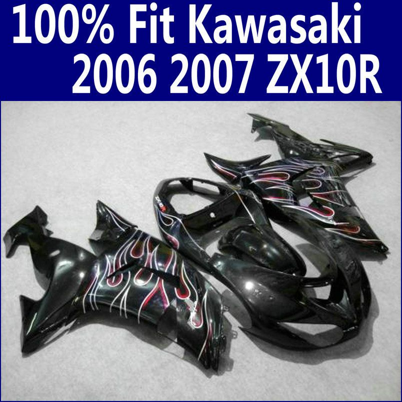 ABS motorcycle parts for Kawasaki fairings Ninja ZX10R 2006 2007 red flames in black ZX-10R 06 07 fairing kit ZS65