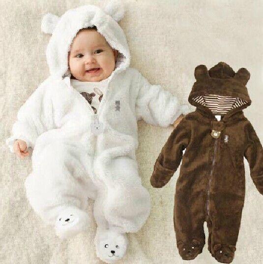 Осень-зима маленьких Комбинезоны для малышек медведь стиль Детские Коралловый Флис бренд Толстовки комбинезон для маленьких девочек комби...