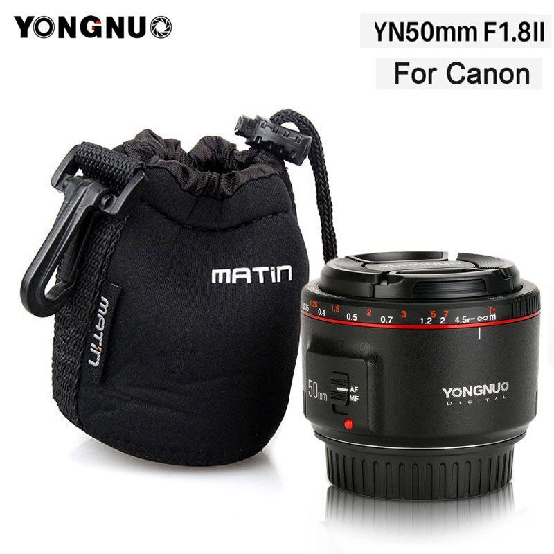 2018 YONGNUO YN50mm F1.8 II Objectif Fixe pour Canon AF/MF Grande Ouverture Métal Monture de Discussion 50mm lentille pour Canon 600D 1300D DSLR