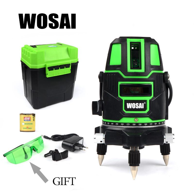 WOSAI Green Laser Level 5 Lines 6 <font><b>Points</b></font> 360 Degrees Rotary Outdoor 635nm Corss Line Lazer Level <font><b>Points</b></font> Level Tilt Function