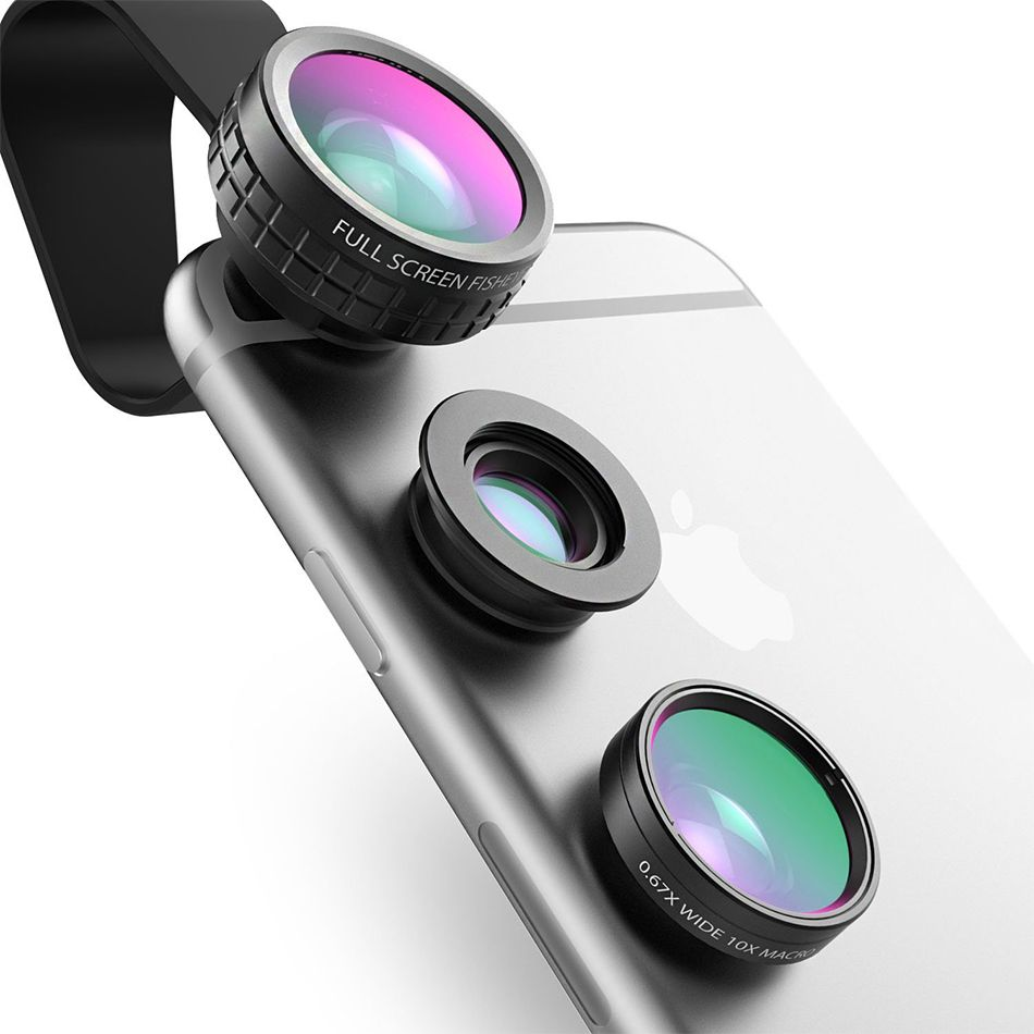 AUKEY Fish eye Lens 3in 1 Clip-on Cell Phone Camera 180 Degree Fisheye Lens+Wide <font><b>Angle</b></font>+Macro Lens for iPhone 7Plus For Xiaomi
