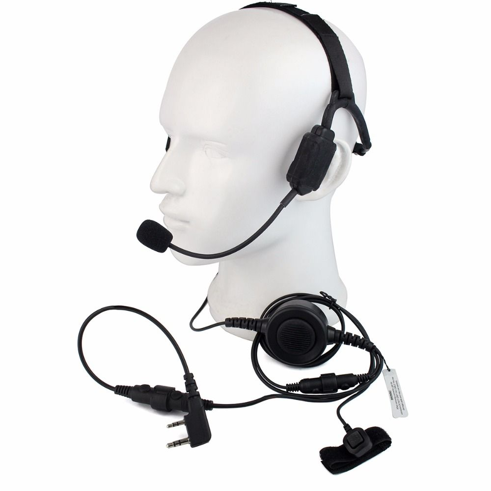 PTT MIC Military Bone Conduction Tactical Headset for KENWOOD BAOFENG UV-5R BF-888S TYT RETEVIS H777 RT3 PUXING Walkie C2223A