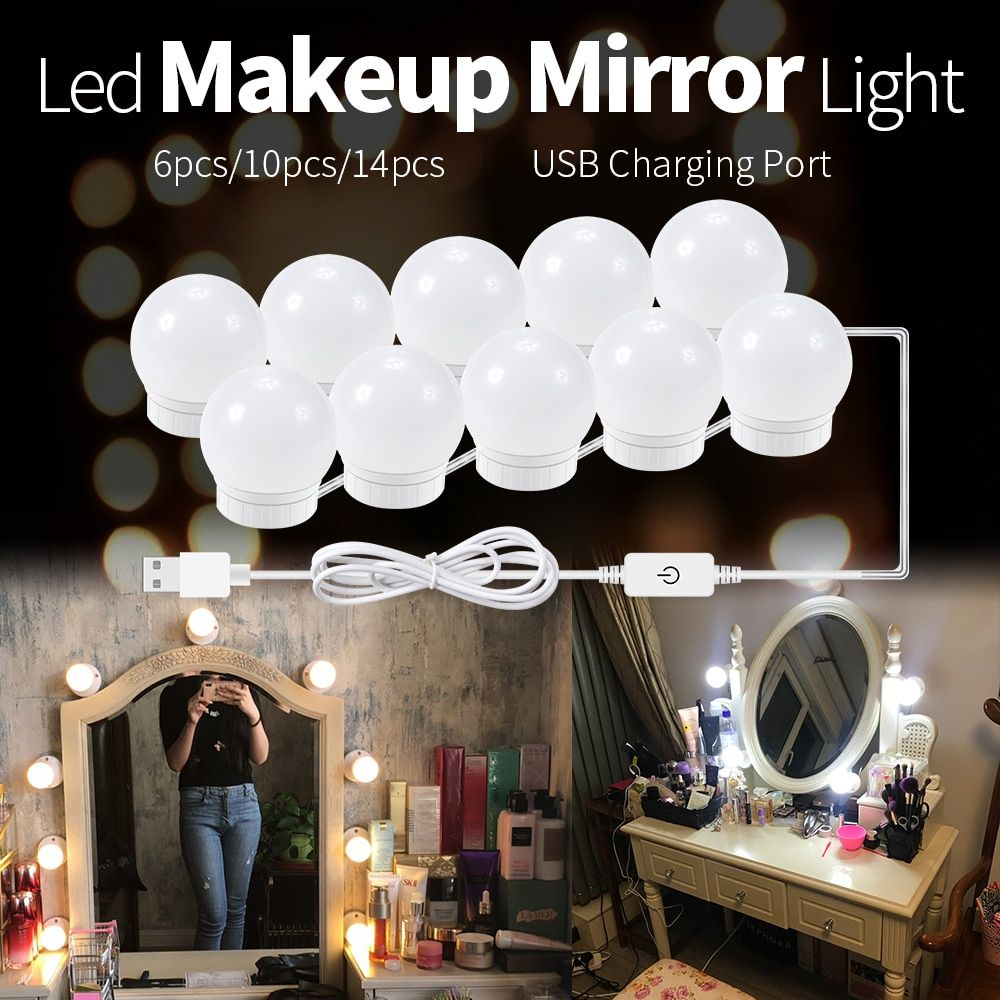 CanLing LED 12V Makeup Mirror Light Bulb Hollywood Vanity Lights Stepless Dimmable Wall Lamp 6 10 14Bulbs Kit for Dressing Table