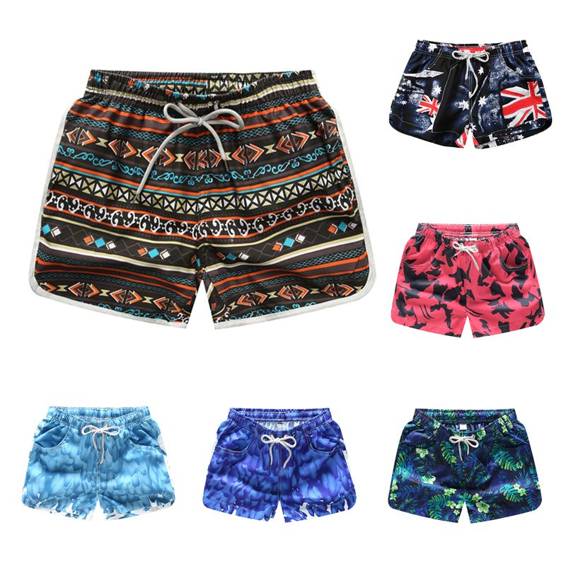 Beach Shorts Women Bottoms Anti-UV Quick Dry Shorts Printing Swimming Surfing Shorts Summer Draw String Elastic Waist Shorts