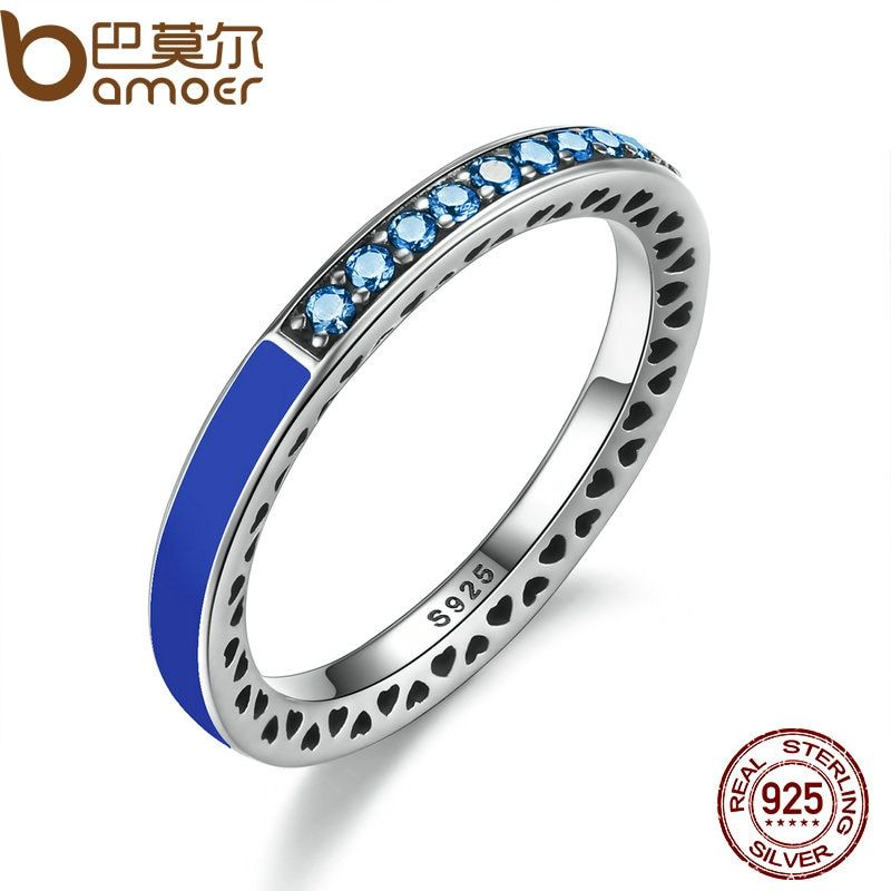 BAMOER 100% 925 Sterling Silver Radiant Hearts of Princess Blue Enamel & Royal Blue Crystals Women Ring Wedding Jewelry PA7621