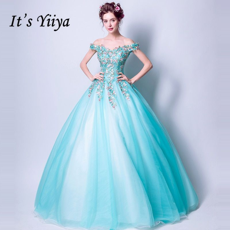 It's Yiiya Blue Boat Neck Sleeveless Candy Color Luxury Evening Dresses Floor Length Embroidery Lace Up Formal Dress LX286