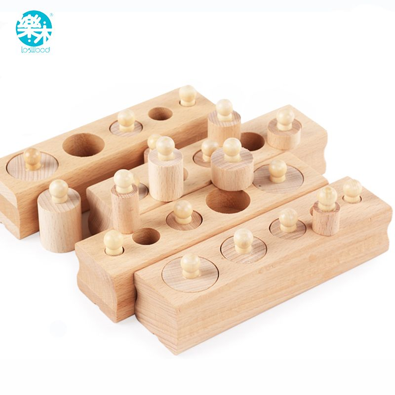 Logwood Wooden toys Montessori Educational Cylinder Socket Blocks Toy Baby Development Practice and Senses