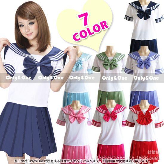 8 couleurs Japonais uniformes scolaires sailor costume tops + cravate + jupe JK Marine style Étudiants vêtements pour Fille Lala pom-pom girl vêtements