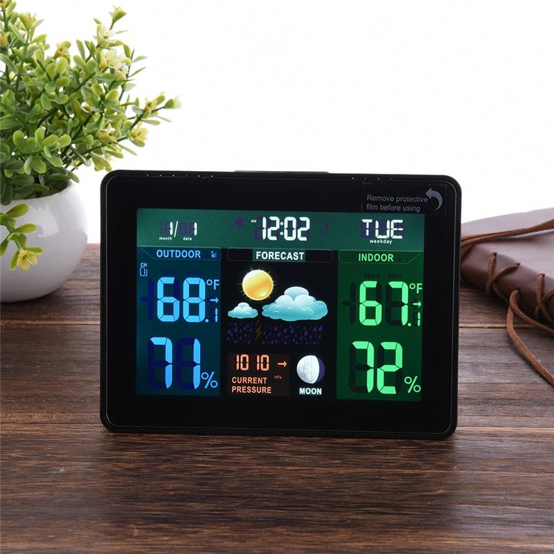 EU US Plug Wireless Color Weather Station In/Outdoor Forecast Temperature Humidity Alarm And Snooze Thermometer Hygrometer