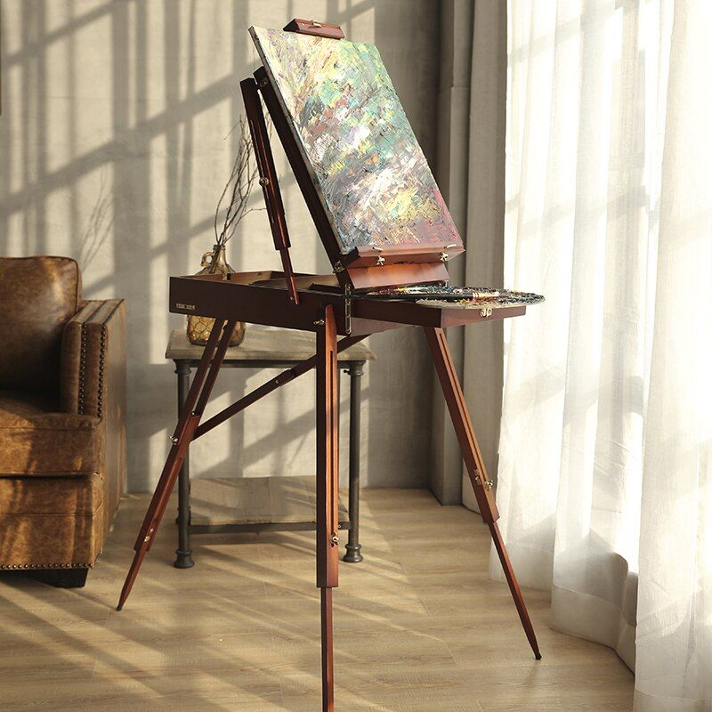 Tragbare Malerei Staffelei Klassischen Holz Ölgemälde Palette Box mit einem Schultergurt Spezielle Für Künstler Skizze Box Cavalete