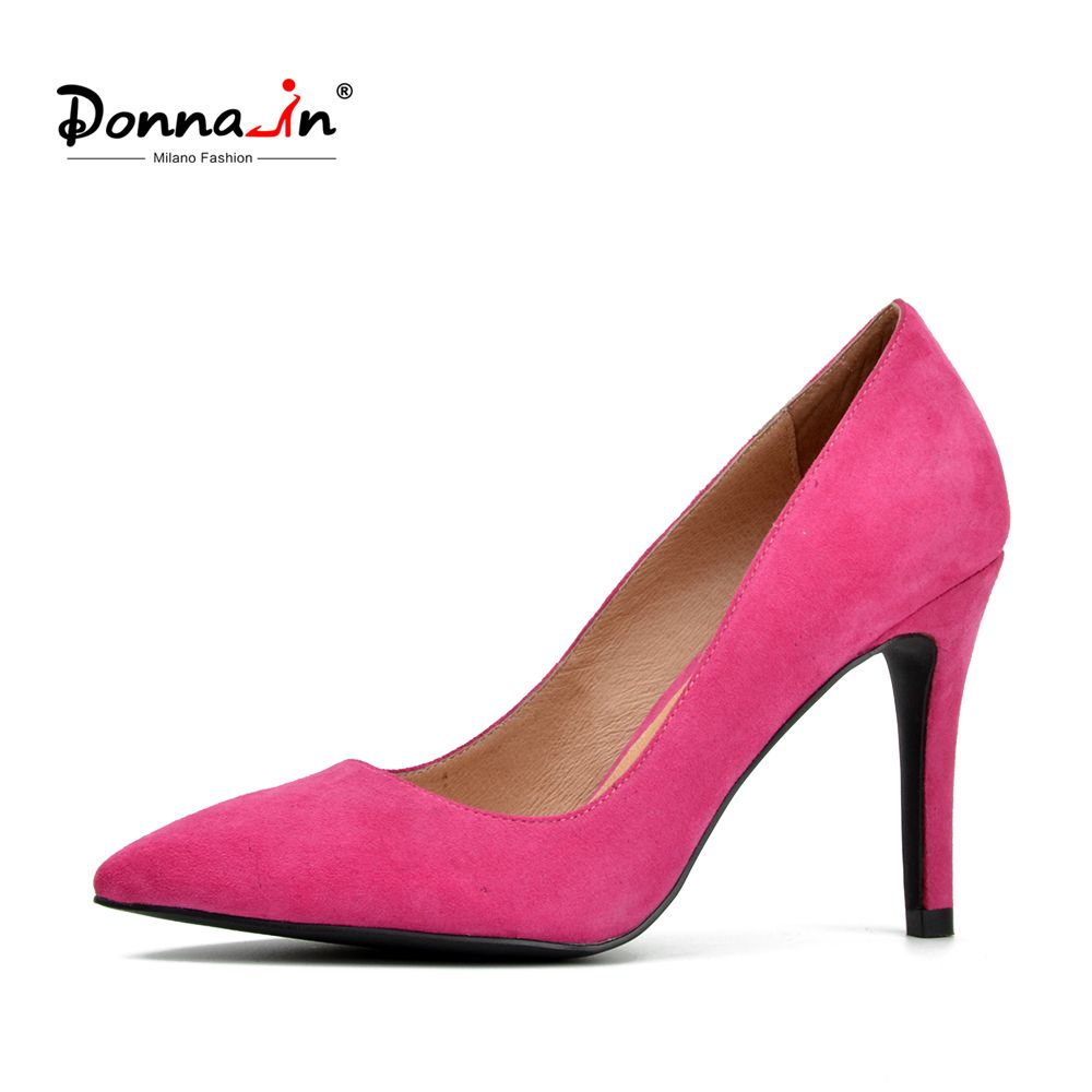 Donna-in women calf leather pumps high heel pumps fashion party thin heels kid suede pointed shoes ladies shoes