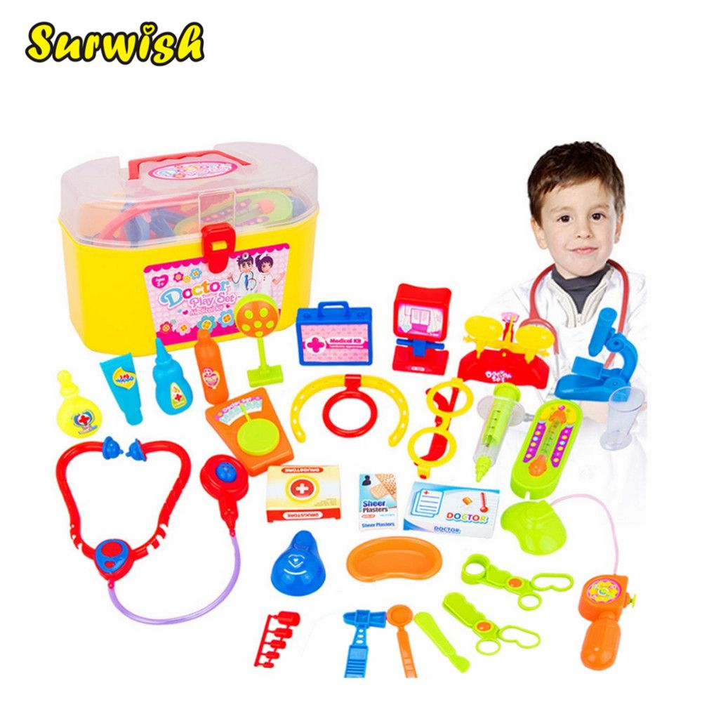 Surwish 30 Pieces / set Pretend & Play Doctor Set with Stethoscope and Medical Doctor's Equipment Educational Toy