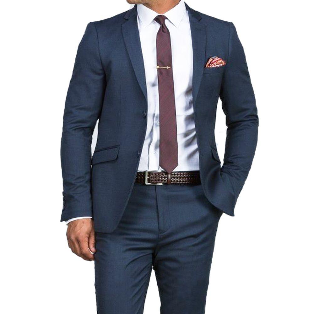 Herrlich Schlanke Dunkelblau Hochzeit Anzüge Für Männer Nach Maß Männer Blau Anzug 2019 Mode Stil Anzügen TAILORED Blau smoking
