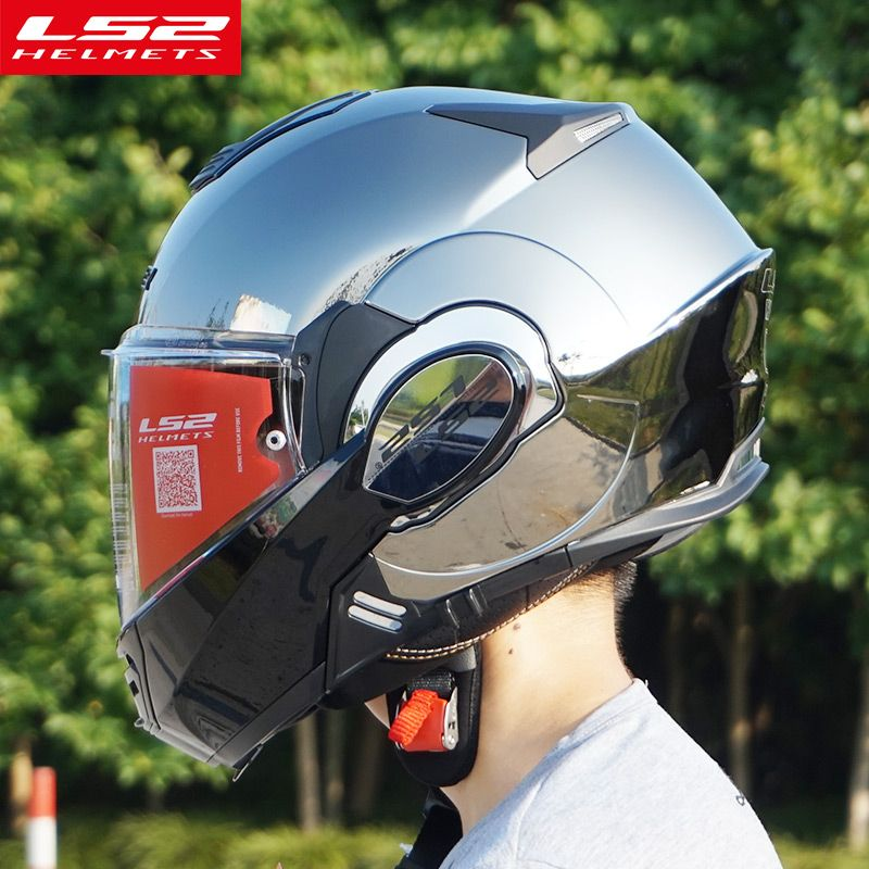 The New LS2 FF399 flip up motorcycle helmet can be converted into retro helmet chrome blue double lens modular full face helmets
